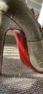 christian louboutin - Size 40 - heels - Gold Glitter - Open Toe