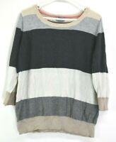 JCP Wool Blend Women's XL Spring Casual 3/4 Sleeve Striped Knit Top Grey Beige