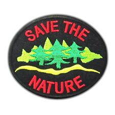 SAVE THE NATURE Hippie Patch World Embroidered Retro Applique Love Earth Iron On