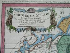1758 Rare nice Original Map Russia Siberia Moscow Petersburg Jakutsk Omsk Baikal