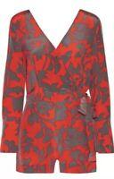 NEW $398 Diane von Furstenberg wrap V-Neck Printed Silk Romper 2