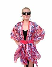 Plus Size Silk Kaftan Kimono Top Cape Beach Coverup Overlay Paisley 197 Orange