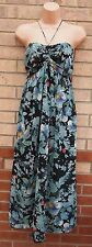 PRIMARK GREEN BLACK FLORAL HALTERNECK CHIFFON GYPSY BOHEMIAN LONG DRESS 12 M