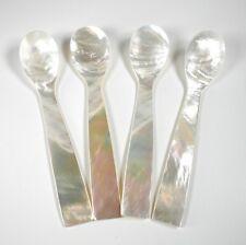 "Mother of Pearl Caviar Tea Sugar Jam Dessert Spoon 4.5"" 4-Piece Gift Set"