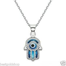 "Evil Eye Hand of Fatima  Hamsa  Judaica Kabbalah Charm Pendant Silver 18"" Chain"
