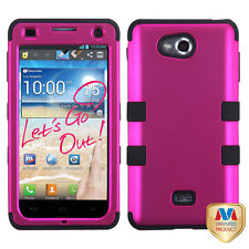 For MetroPCS LG Spirit 4G MS870 IMPACT TUFF HYBRID Case Phone Cover Pink Black