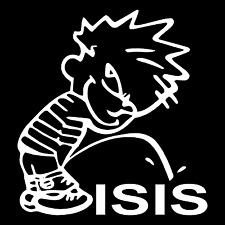 Calvin Piss Pee On ISIS Funny Car Truck Window Wall Laptop Vinyl Decal Sticker.