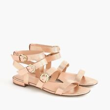 $138 NEW J.CREW METALLIC BLUSH/ ROSE GOLD LEATHER BUCKLED GLADIATOR FLATS Sz 8.5
