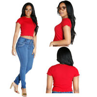 Women Short Sleeves Red Color Casual Club Crop Tops Midriff-baring T Shirt