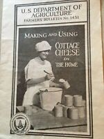 1927 Making & Using Cottage Cheese In The Home U.S. Dept Of Agriculture Bulletin