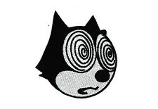 Tripping Fur Balls Cat Iron-On Patch Hypnotized Magic Felix Hypno Kitty Punk 420