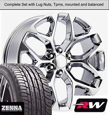 "22 x9"" inch Wheels and Tires for GMC Sierra 1500 Replica CK156 Chrome Rims"