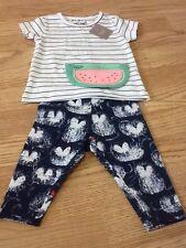 Next Baby Girls Size 3-6 Months White & Blue Top & Navy Cat Leggings - BNWT