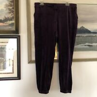 Simply Vera Vera Wang Purple Velour Pants Pull On Comfy Sz L A2385