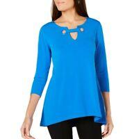 ALFANI NEW Women's Grommet-trim Keyhole Blouse Shirt Top TEDO