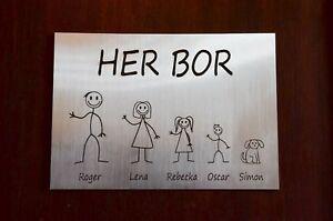Norwegian Door Plaque Personalised Stick Family House Name Number Door Sign GIFT