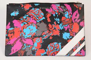 Givenchy black multi floral stripe logo pouch clutch handbag purse NEW $475