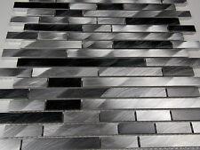 Effektmosaik Mosaik Fliesen silber grau aluminium schwarz metall gebürstet !
