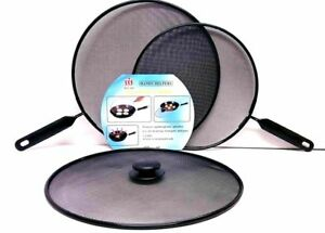 3 x Metal Mesh Splatter Guard Screen Cover Frying Grill Pan Knob Lids Set Black