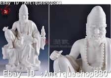 11'' China Dehua Porcelain Monk Ji Gong Dragon Lohan God Buddha Hold Fan Statue