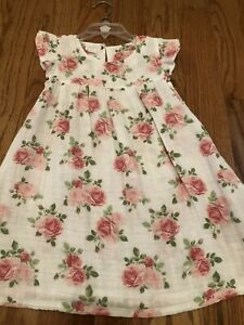 Mud Pie Baby Girls Pink Rose Muslin Flutter Sleeve Dress  Size 5T Toddlers
