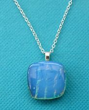 "925 Silver Plated Pendant With Created Blue Opal Doublet With 20"" Chain (nk1625)"