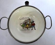 Vintage Metal/Ceramic Child's Warming Dish, Nursery Rhyme Theme