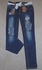 ~NWT Women's ALMOST FAMOUS Roll Cuff W/Lace Belt Jeans! Size 7 Nice FS:)~