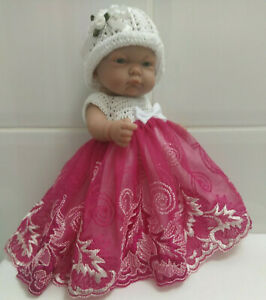 """Dolls Clothes New Crochet Embroidered Dress Set for 10"""" Antonio Juan Baby Doll"""