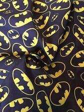 Batman black Fabric Polycotton Sewing and Craft Material-Fat Quarter 50cm x 47cm
