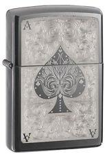 Zippo 28323 ace of spades filigree black ice chrome full size Lighter