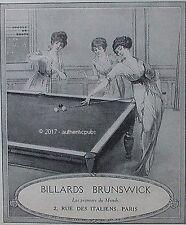 PUBLICITE BRUNSWICK BILLARDS TABLE DE JEU DE 1913 FRENCH AD PUB RARE ART DECO