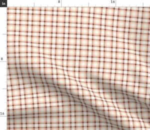 Pink Plaid Brown Spoonflower Fabric by the Yard
