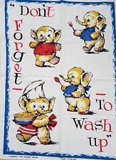 Vintage 'JUMBOS' by MY CHOICE Nellie the Elephant CUTE 1960's Cotton TEA TOWEL