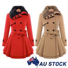 AU Women's Slim Woolen Winter Warm Double Breasted Fur Collar Outwear Parka Coat