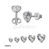 925 Sterling Silver High Quality Heart Clear CZ Stud Earrings