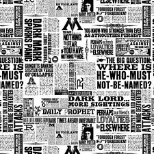 Harry Potter Newsprint Black & White 100% Cotton Fabric FAT QUARTER