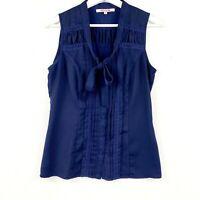 Review Women's Sz 8 Navy Blue Sleeveless Button Up Tie Neck Lace Trim Blouse Top