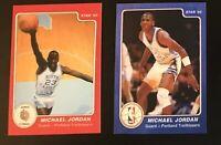 SET OF 2! 85 Star Michael Jordan Rookie Portland Blue Red MJ ERROR Card 3&9