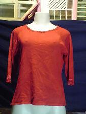 Petites Villager  Liz Claiborne Size PXL red 3/4 sleeve beaded Crewneck sweater