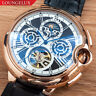 Mens Automatic Mechanical Watch - Rose Gold White Dial Black Leather DIASTERIA