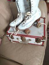 Vintage Official Roller Derby women 8 Leather Roller Skates Wood Wheels w Case