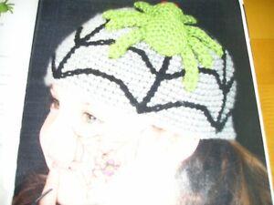 CROCHET PATTERN FOR CHILDS SPIDER HAT FOR HALLOWEEN.