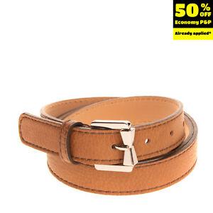 GIANNI CHIARINI Skinny Belt Size 100/40 Faux Leather Adjustable Crumpled Effect