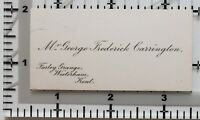 Antigüedad Calling Card Mr George Frederick Carrington Farley Granja Westerham