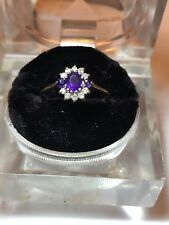 Vintage 10k Ameythst With Tiny Diamonds Ring