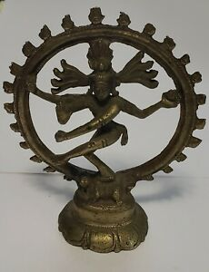 "4"" Brass Hindu Shiva Nataraja Dancing Statue"