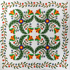 Traditional 1850's colors, Princess Feather Tulip QUILT TOP - All Hand Applique