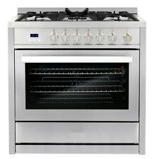 36 in. 3.8 cu. ft. Single Oven Gas Range with 5 Burner Cooktop Stainless Steel