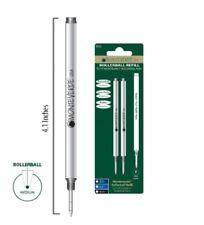 To Fit MontBlanc Rollerball Pens 2PK Ballpoint Refills - BLACK ink, MEDIUM Point